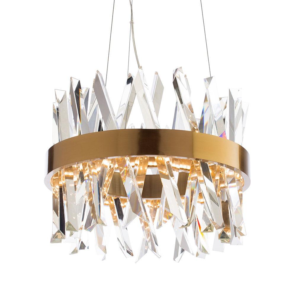 Visconte Flusso Small Round Adjustable Ceiling Pendant Light - Antique Brass