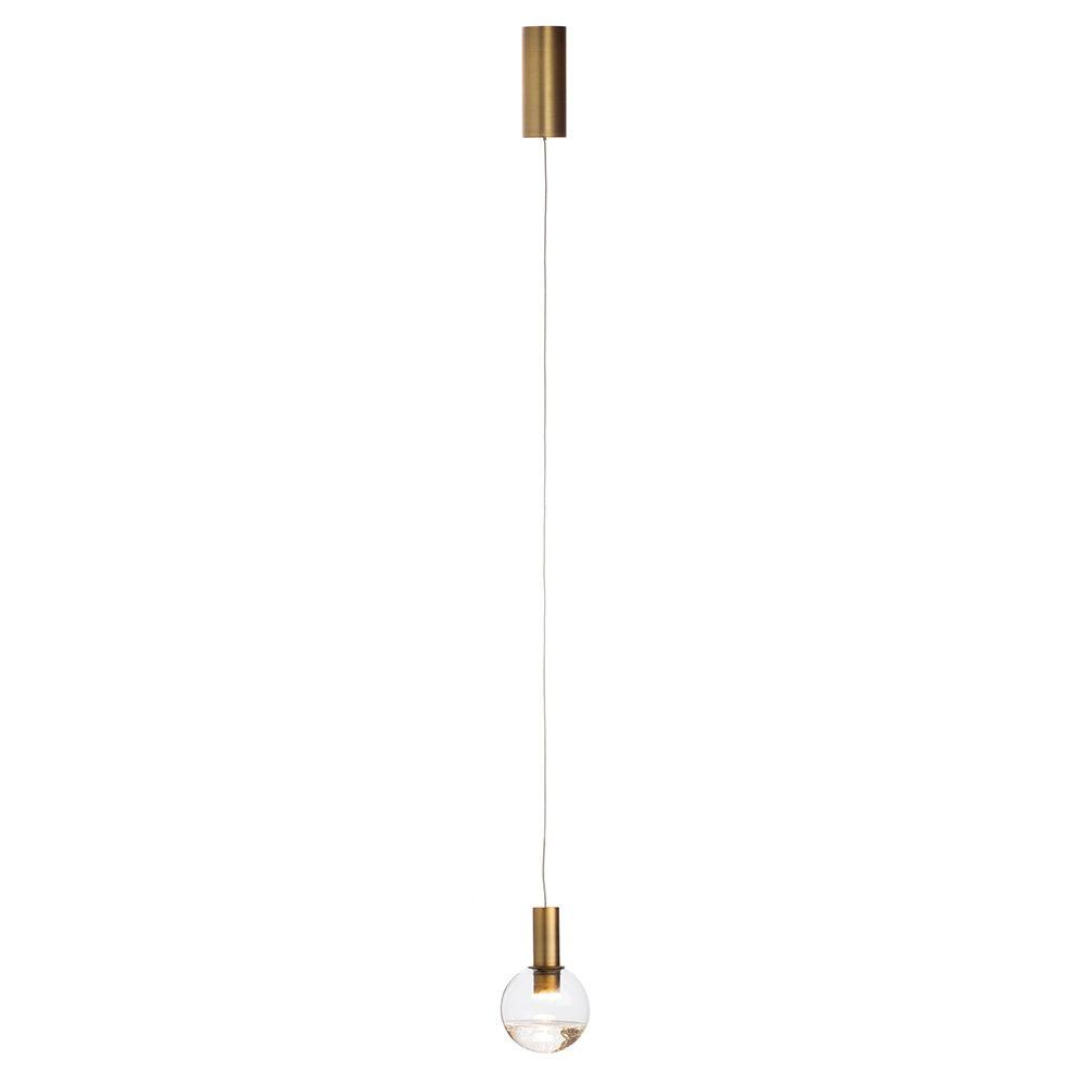 Visconte Splendere 1 Light Ceiling Pendant - Brass & Clear Glitter Glass