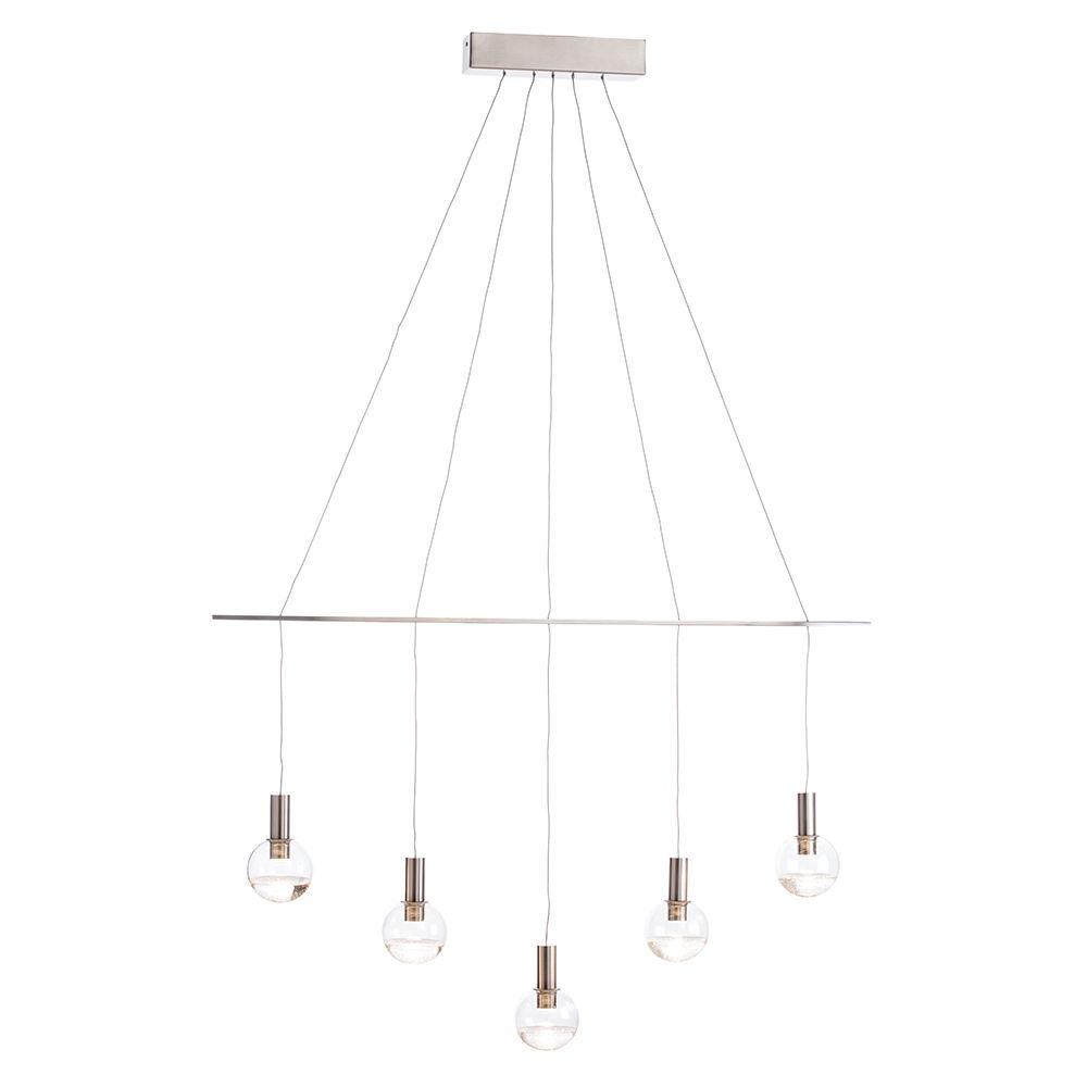 Visconte Splendere 5 Light Adjustable Ceiling Pendant Bar - Nickel & Glitter Glass