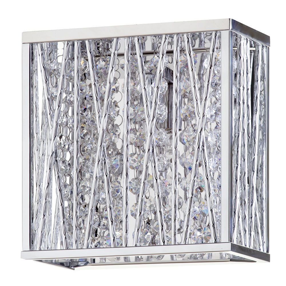 Litecraft Oblast Frame Wall Light with Crystal Droplets - Chrome