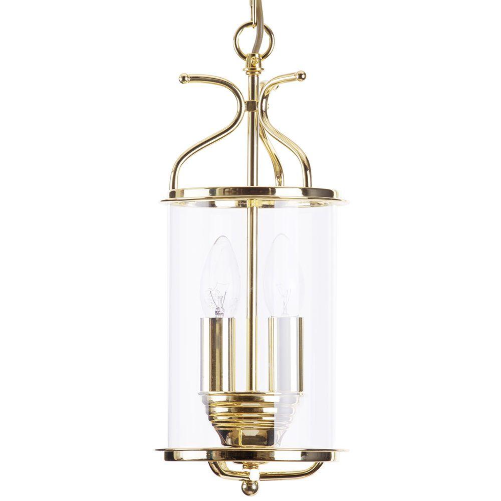 Salisbury 2 light ceiling pendant lantern polished brass for Ceiling lantern light fixtures