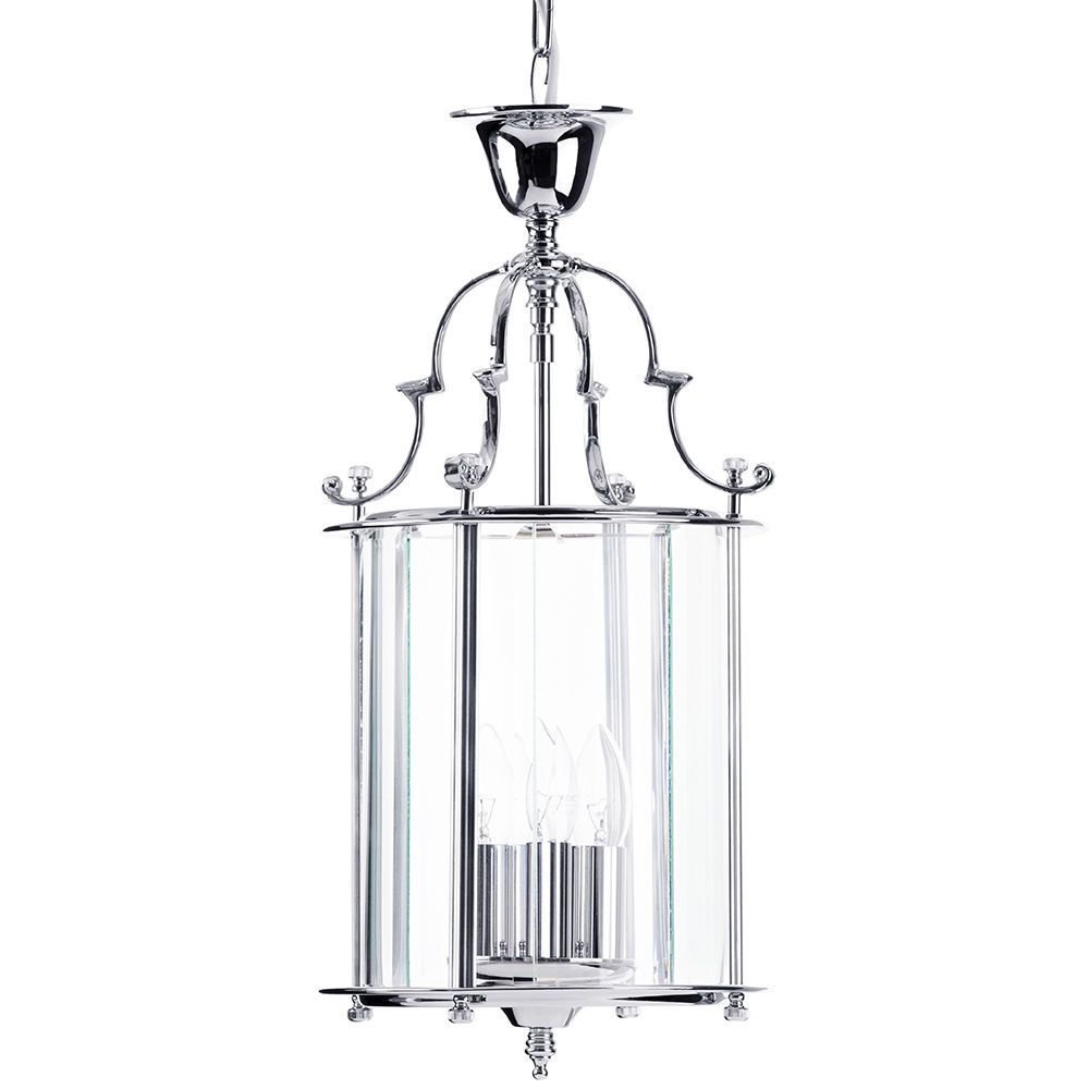 Lancashire Small 3 Light Ceiling Pendant Lantern Chrome