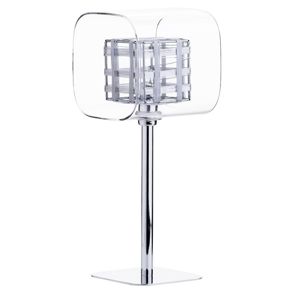 Visconte Lille 1 Light Lattice Cube Table Lamp with Glass Shades - Chrome