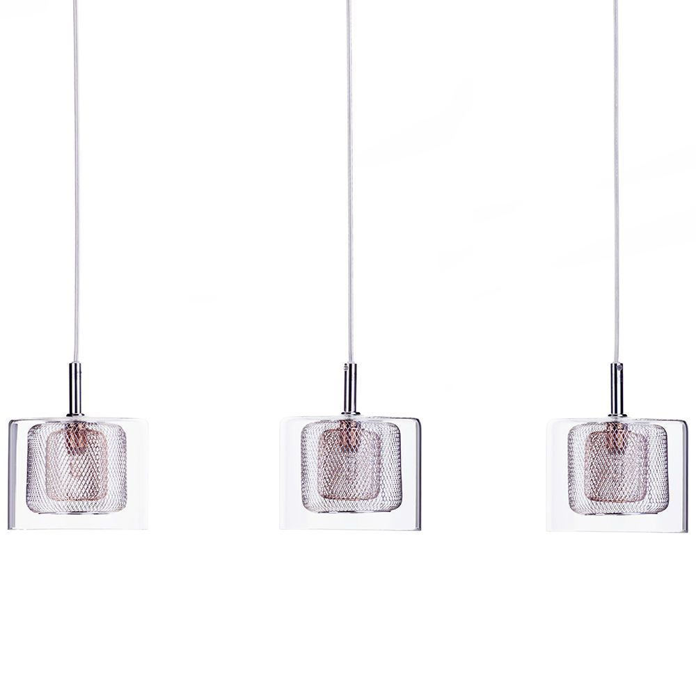 Dijon 3 Light Ceiling Pendant Bar With Copper Mesh And