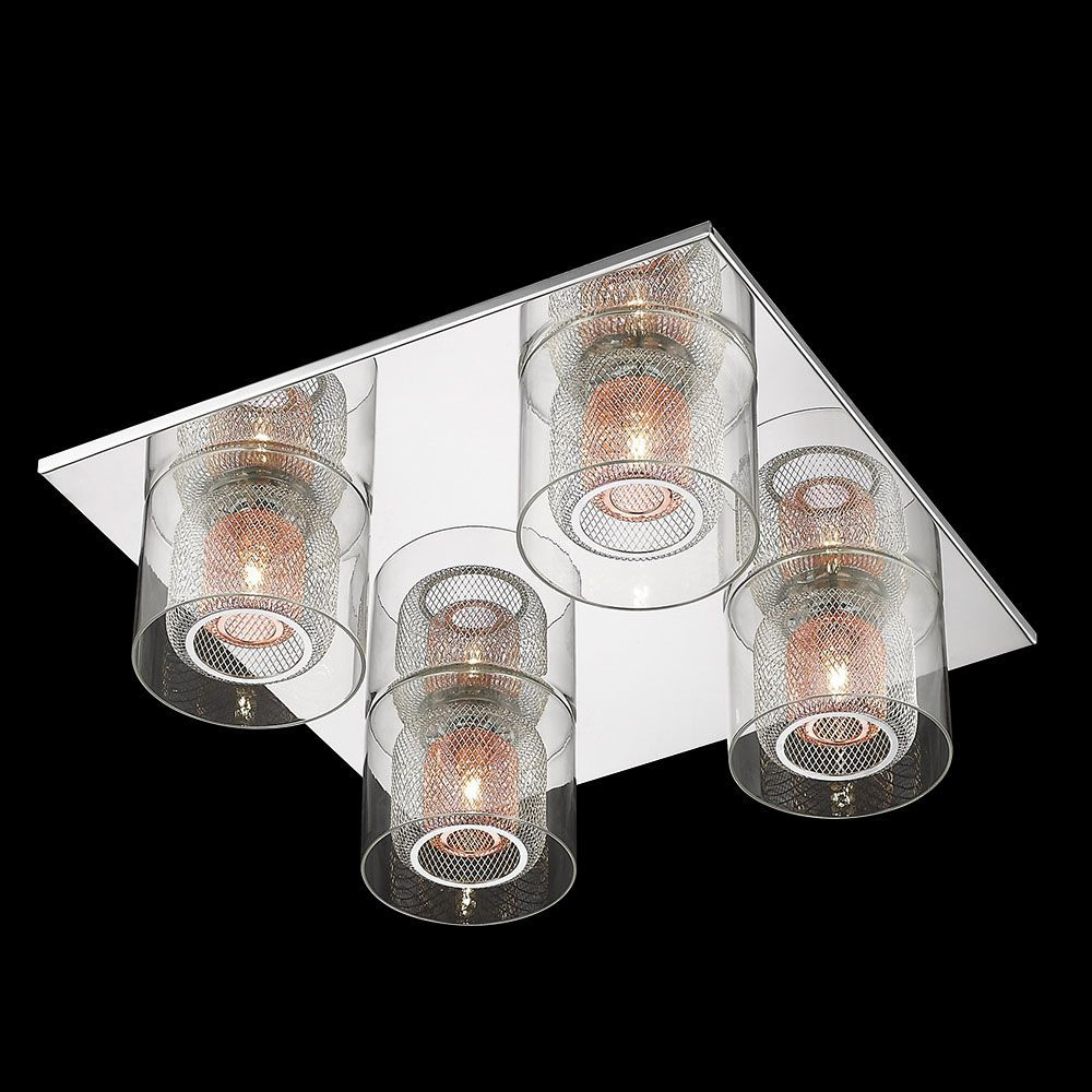Visconte Dijon 4 Light Flush Ceiling Light With Copper