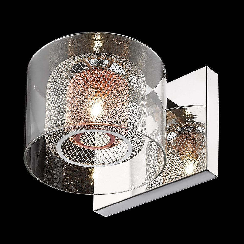 Glass Shades For Wall Lights : Dijon 1 Light Wall Light with Copper Mesh and Glass Shades - Chrome From Litecraft