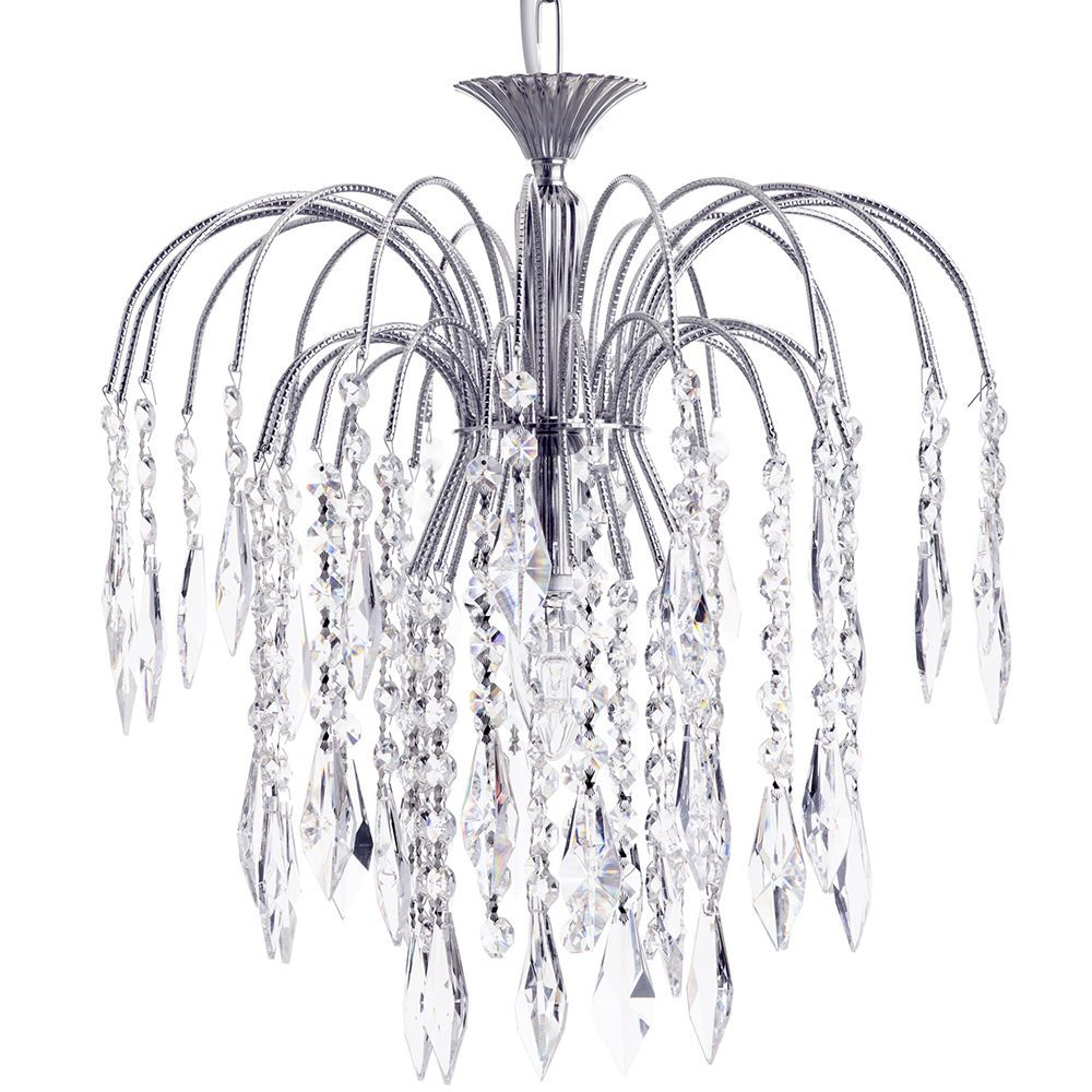 Bath Large 1 Light Ceiling Pendant with Crystal Droplets  Nickel