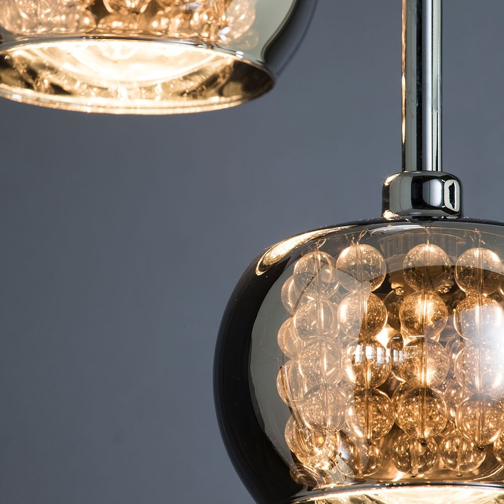Chrome cluster ceiling lights : Normandy light glass ceiling cluster pendant chrome