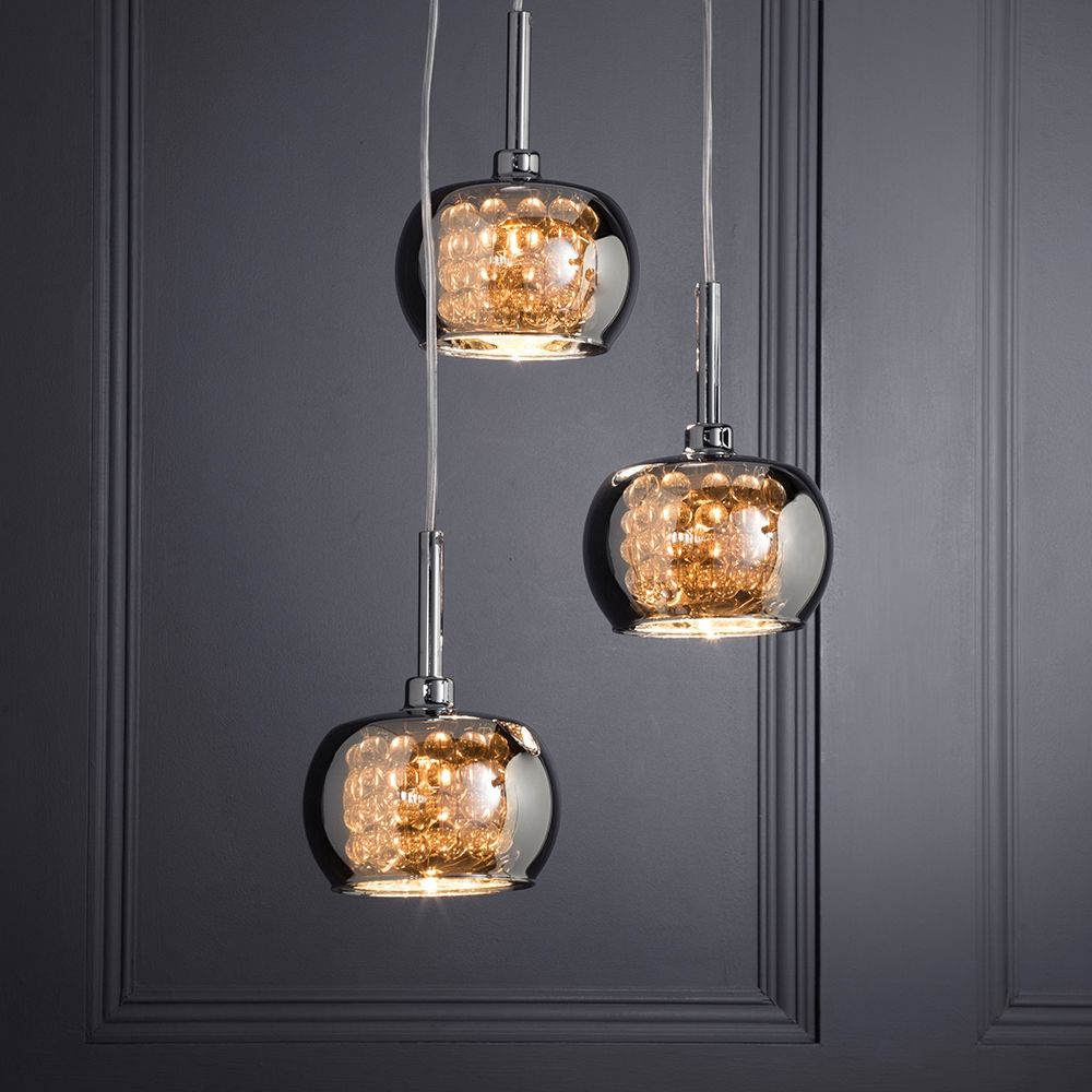 Visconte normandy 3 light glass ceiling cluster pendant chrome smoke glass chrome pendant aloadofball Image collections