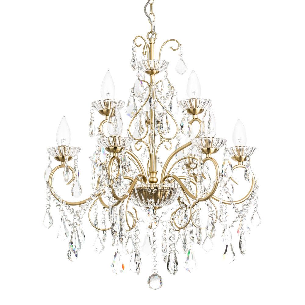 Vara 9 Light Bathroom Chandelier - Satin Brass