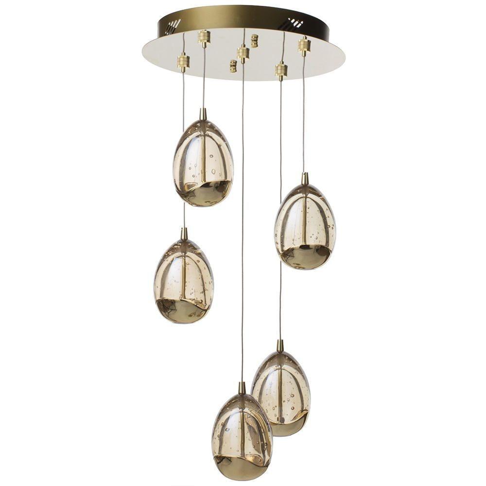 Visconte Bulla 5 Light LED Spiral Cluster Ceiling Pendant Light - Gold