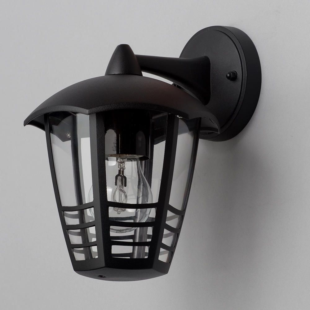 Black Garden Wall Lights : Francis Outdoor 1 Light Die Cast Curved Wall Lantern - Black