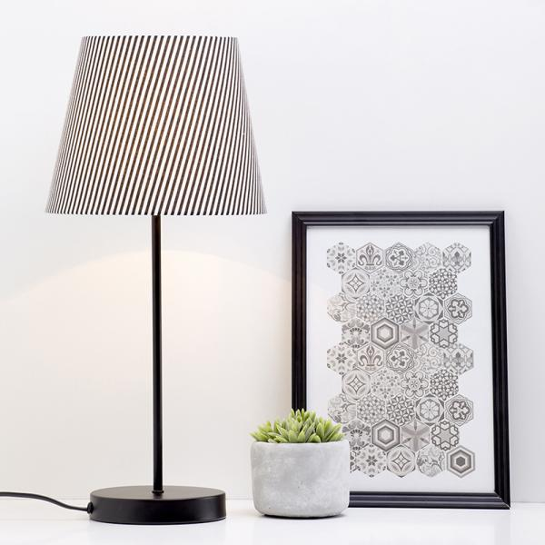 Mix and Match Table Lamps with Stripe Shade detail