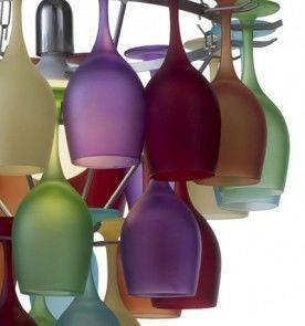 Multi Coloured Wine Glass Chandelier