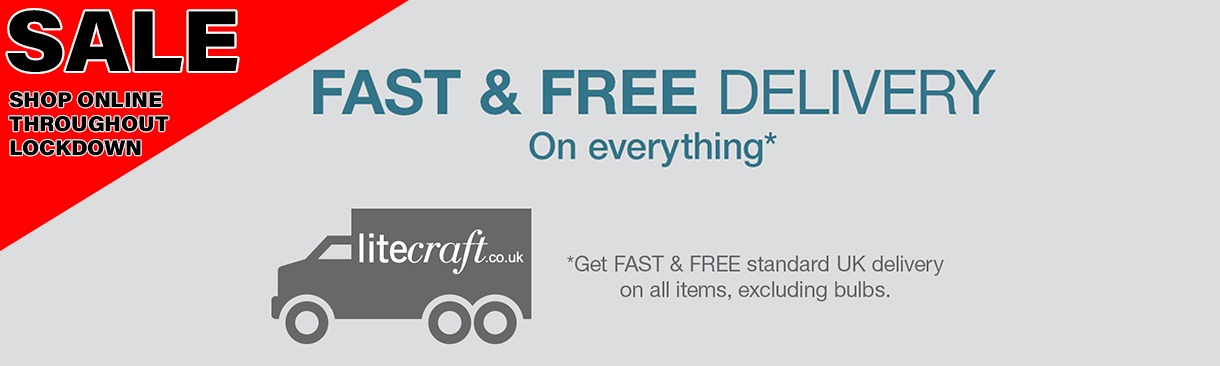 Fast and free delivery on everything* excludes bulbs. Bulbs subject to small delivery charge if purchased on their own and total under £16