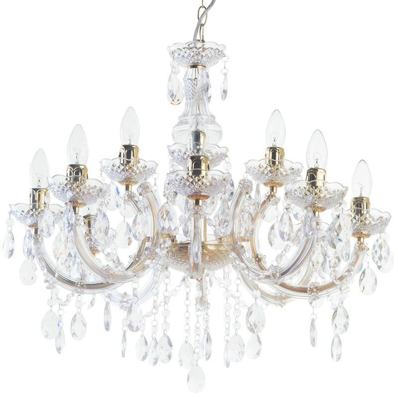 Marie Therese Chandelier 12 Light Dual Mount Gold