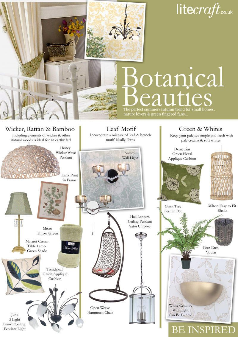 Botanical interior trend Litecraft Look Book that gives off a more trendier vibe