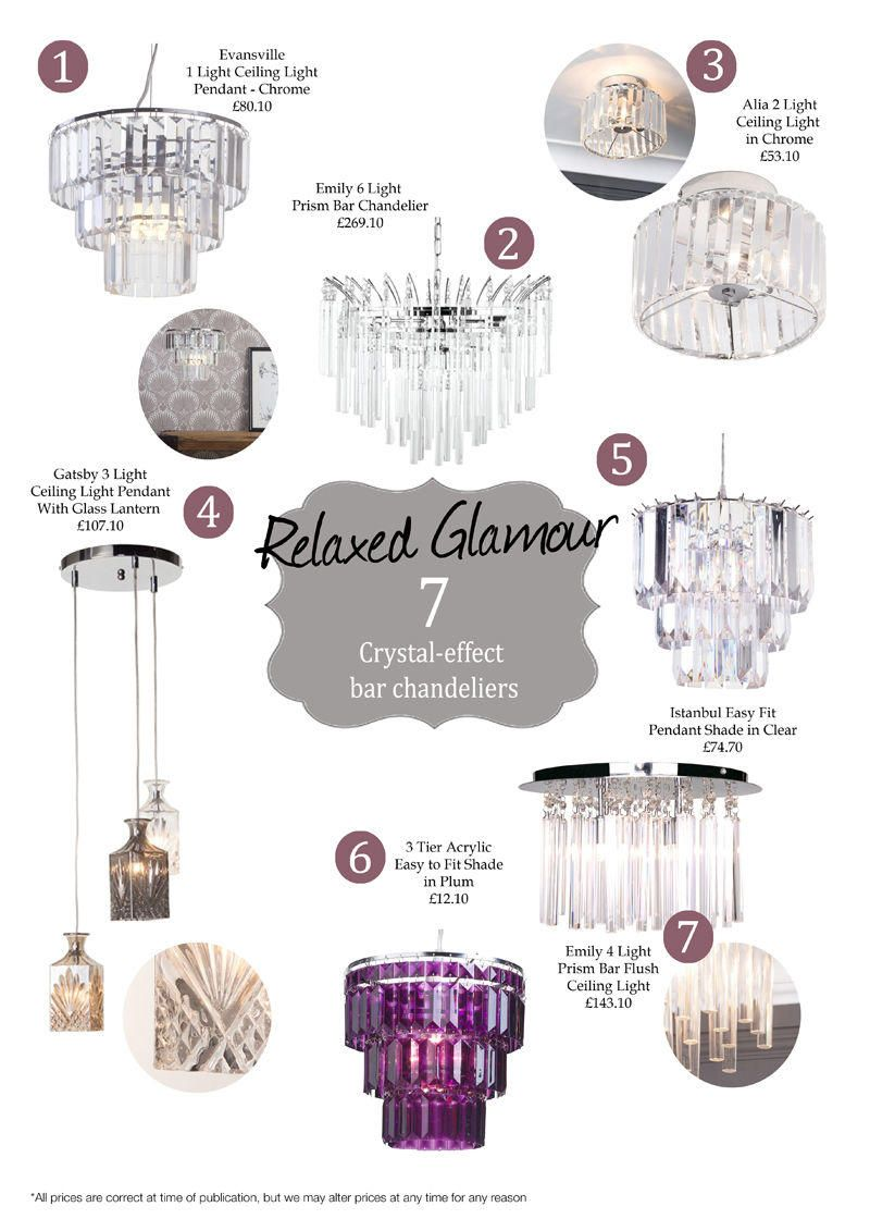 7 Crystal-effect Bar Chandeliers
