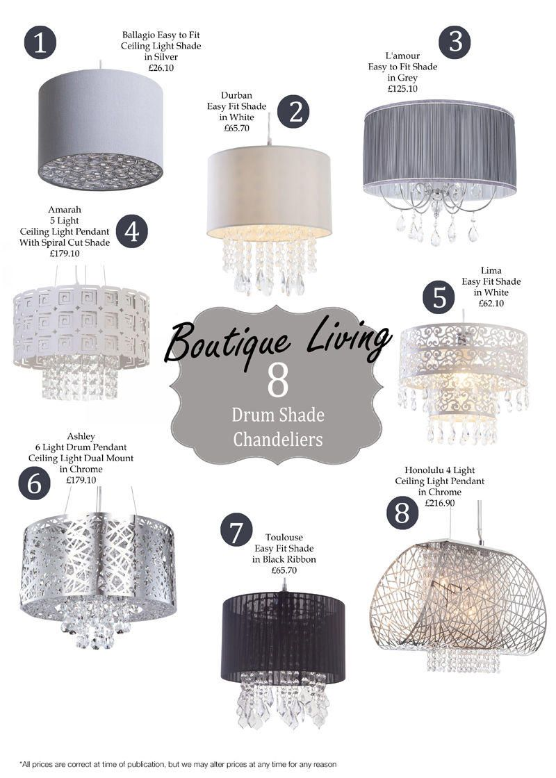 New Diamante Range - 8 Boutique Style drum Shade Chandeliers Boudoir Chic