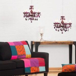 colourful chandelier purple acrylic marie therese chandelier