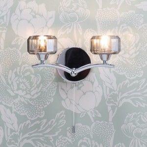 chrome and glass wall light