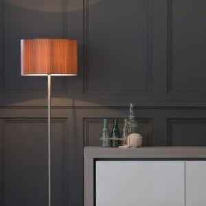 stick floor lamp with wood effect shade