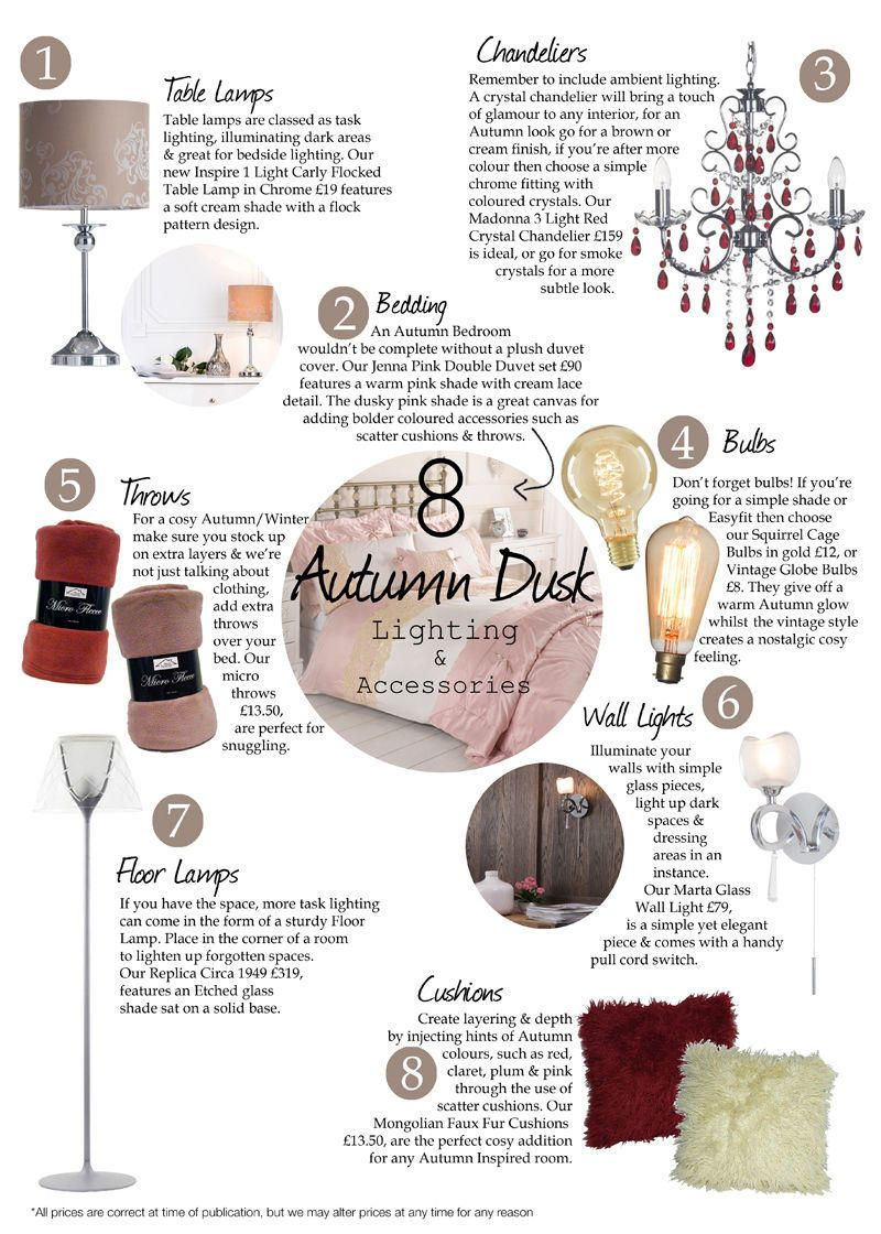 8 Key autumn dusk Lighting and Accessory pieces