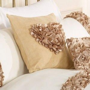 Glamorous gold rose heart bedroom cushion gift idea