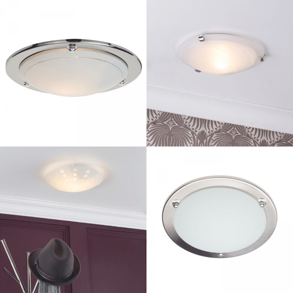 Flush ceiling lighting with glass dome