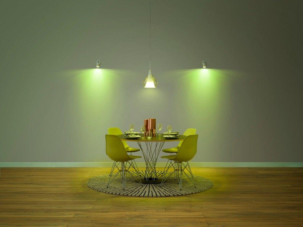 Green dining room lighting coloured light bulbs