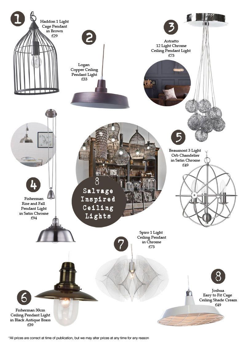 8 Salvage Inspired Ceiling Lights