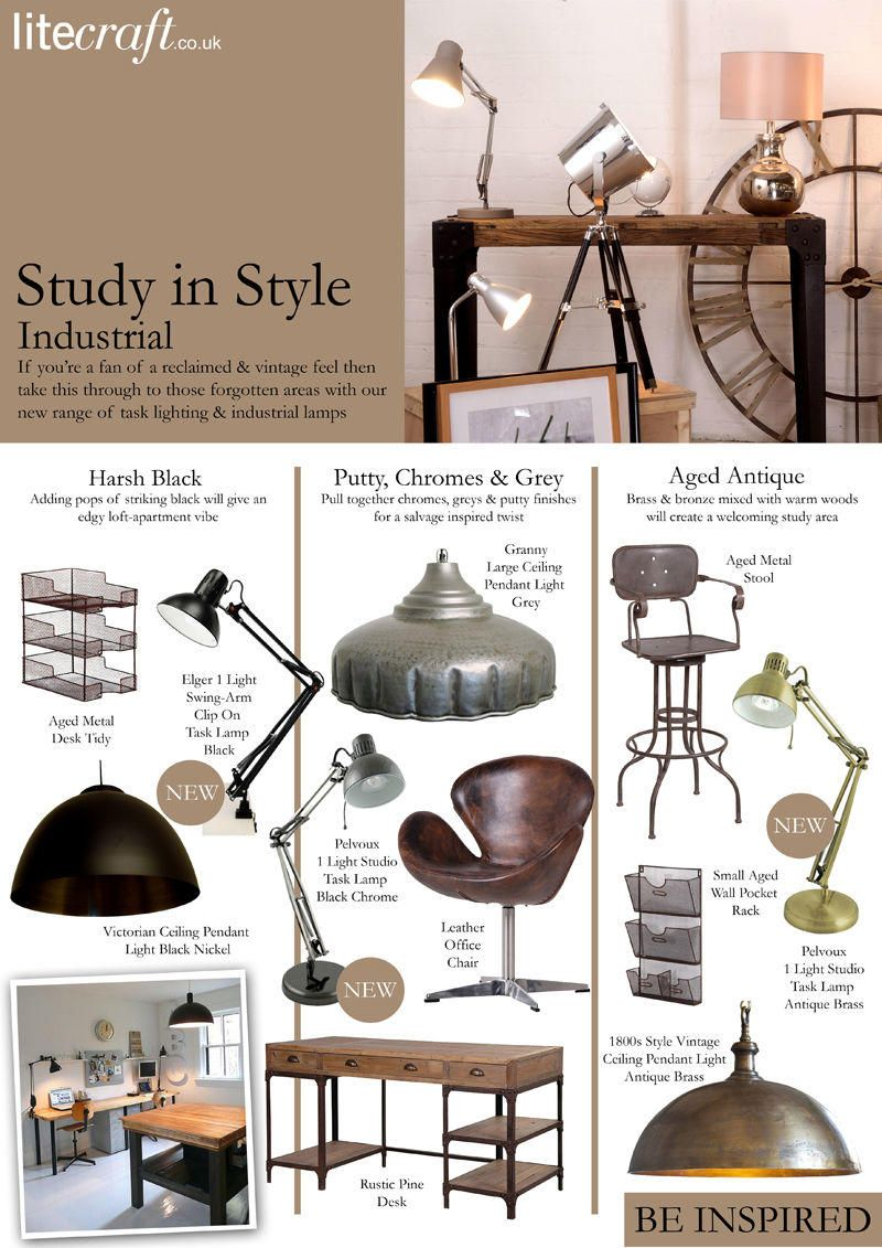 Study in Style : Industrial Style Task Lamps and Accessories