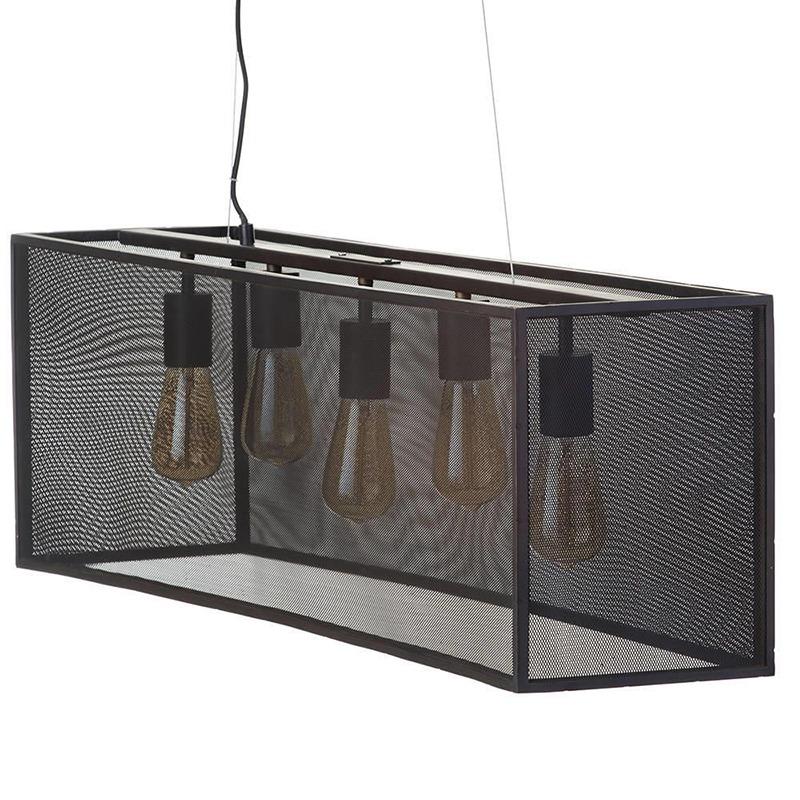 Kitchen Island Lighting - 5-light-bar-pendant-mesh-shade