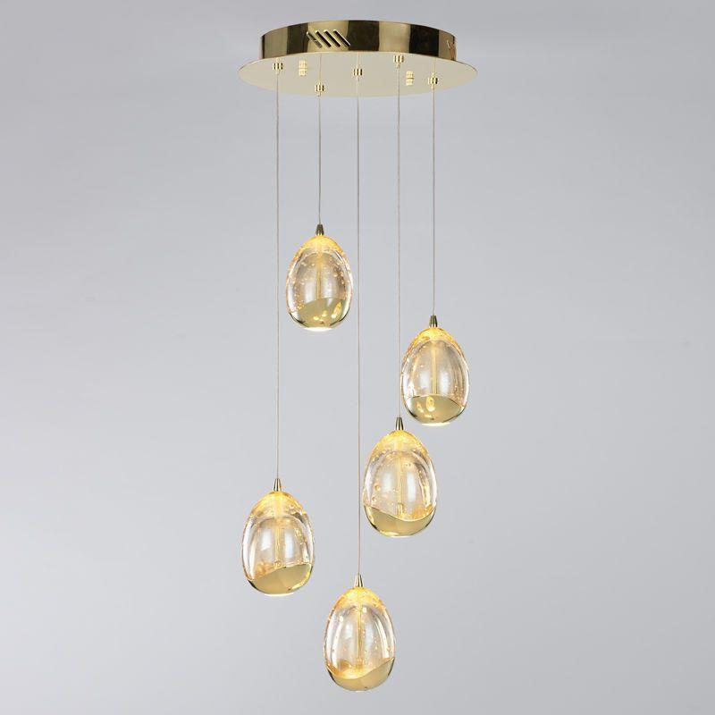 New Lighting Tegg 5 Light LED Spiral Ceiling Pendant Light - Gold