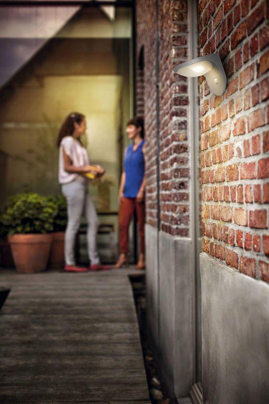Philips Dusk Garden Solar Lighting Outdoor Wall Light with PIR Sensor - Grey