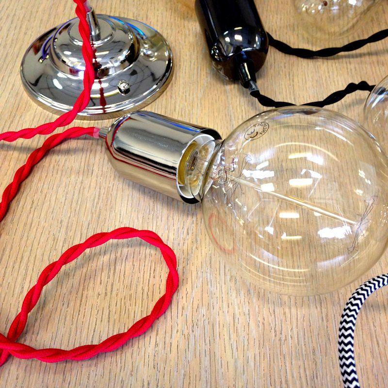 Braided Cable & Vintage 40 Watt Globe Spiral Tinted Lightbulb