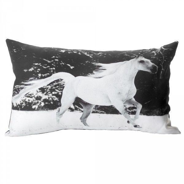 Bedding - Galloping Horses Cushion - Grey
