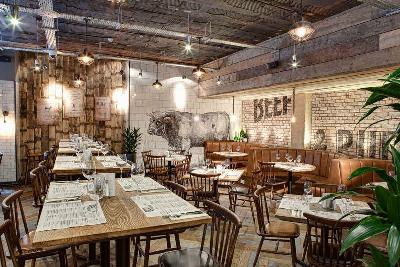 Rustic Interiors and Exposed Bulbs at Beef and Pudding
