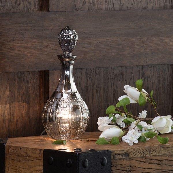 1 Light Glass Decanter Table Lamp - Smoke