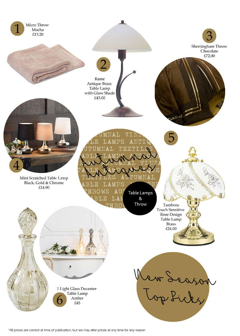 Top picks Autumnal Antique Table Lamps and Throws