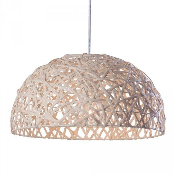 Hibernate at Home Interiors Honey Pendant Ceiling Light Wicker Wave - One Bulb - Natural
