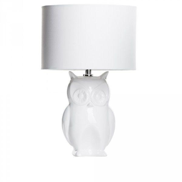 Hibernate at Home Interiors Owl 1 Light Table Lamp with Shade - White