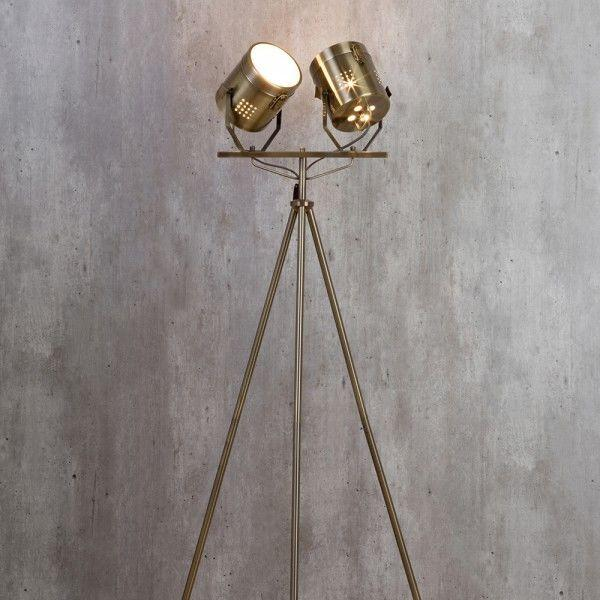 Hollywood Vintage Twin Spotlight Floor Lamp Industrial