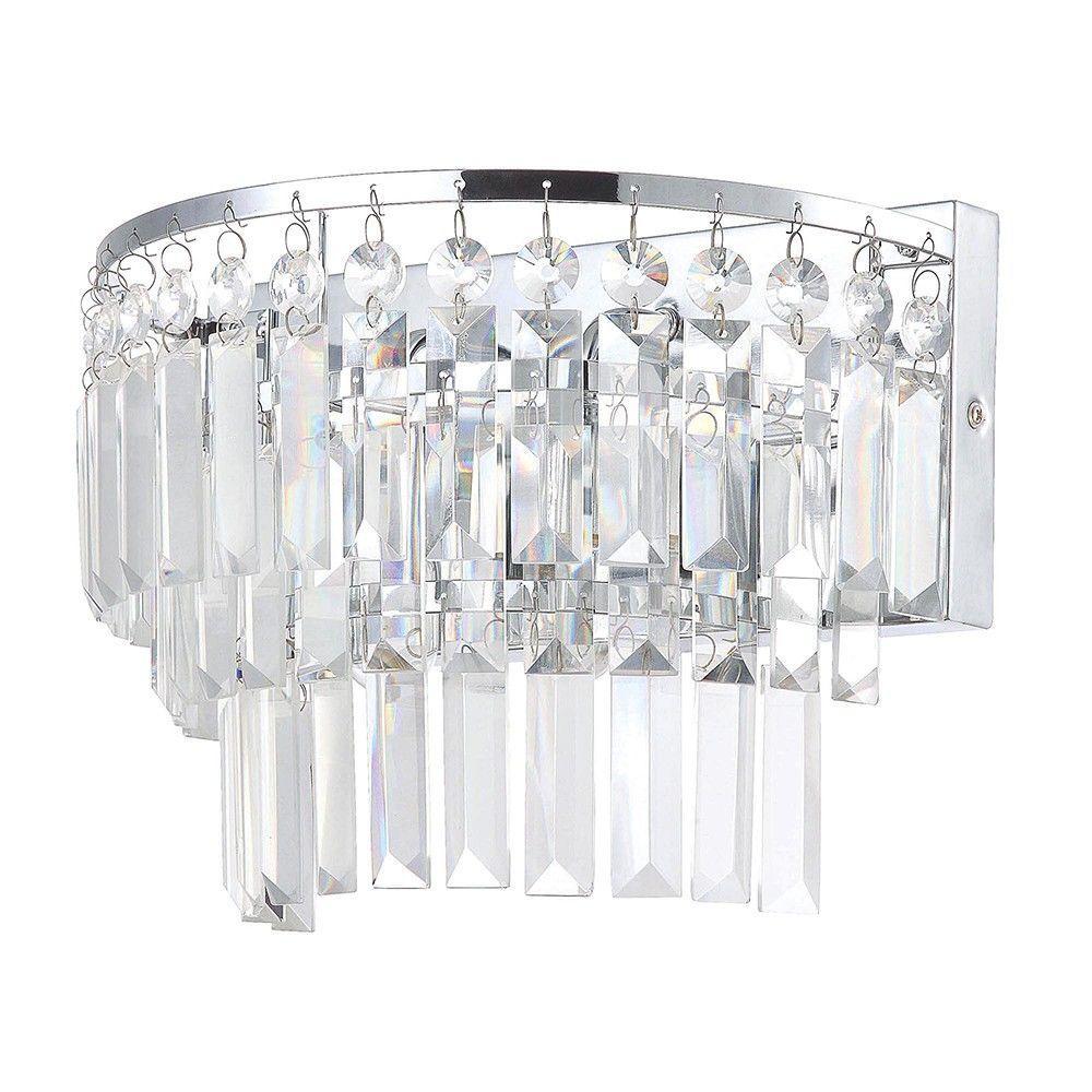Bathroom Lighting Vasca 2 Light Crystal Bar Bathroom Wall Light - Chrome