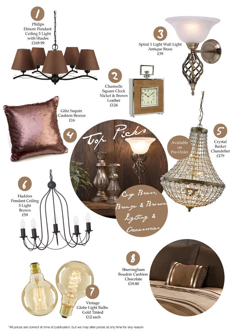 Autumn Top Picks Cosy brass bronze brown lighting accessories