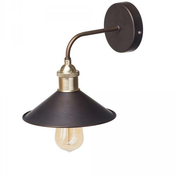 1 Light Industrial Diner Wall Light - Bronze