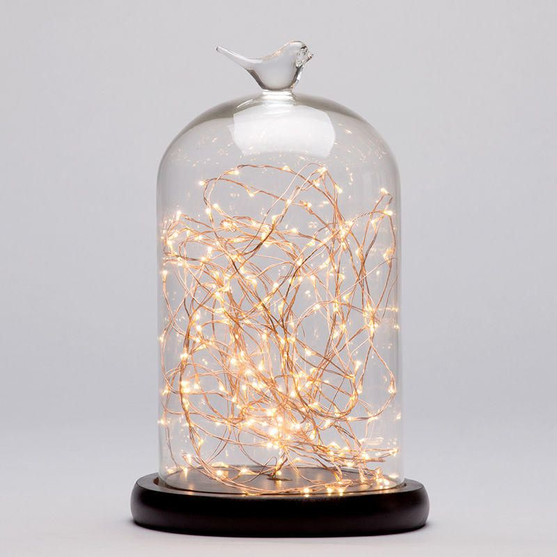 Nordic Interiors Bell Jar Table Light - Dark Wood & Copper