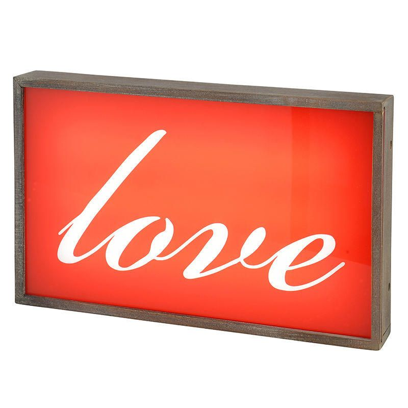 Love Wall Light Box with Rustic Frame - Red