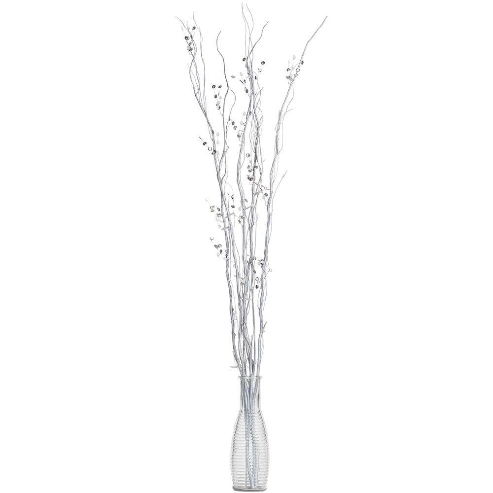 LED Battery Powered Twig Lights - Silver - A New Year Dazzling Dining Room