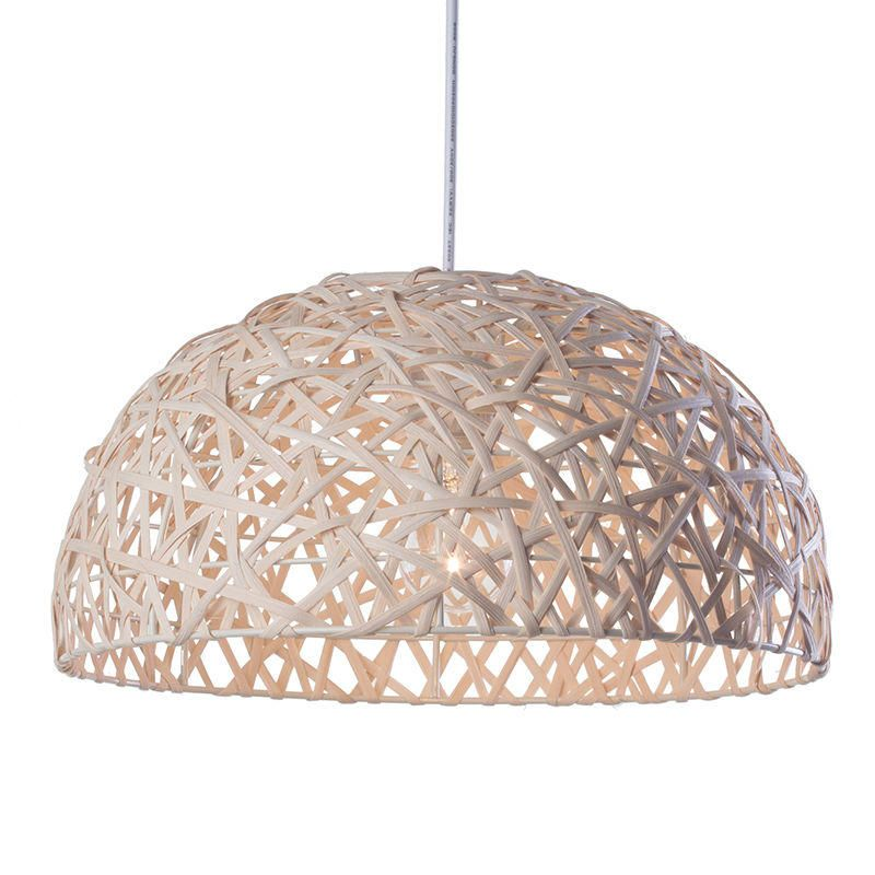Honey Pendant Ceiling Light Wicker Wave - One Bulb - Natural
